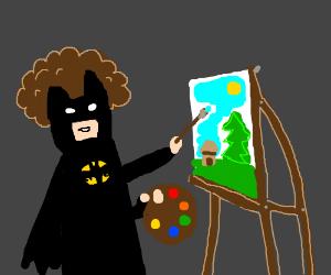 Batman painting happy little trees