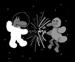 Astronaut hippo meets space robot duck! Fight!