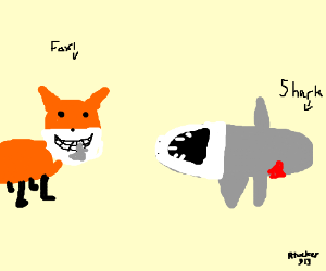 Toothy fox eats shark