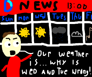 Newsreporter show wed and tues are flipped