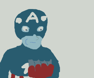 Captain America takes a bite out of a tin can.