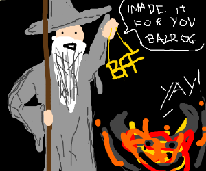 Gandalf offers friendship to the balrog