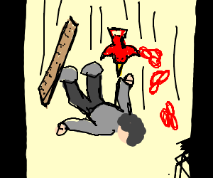 guy falling w/ red pretzel red bird and ruler.