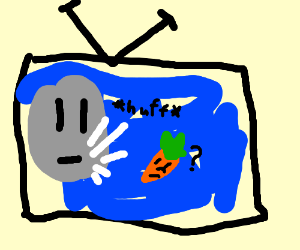 On TV, the Moon breathes on a carrot.