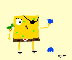 Pirate spongebob finds broken ball