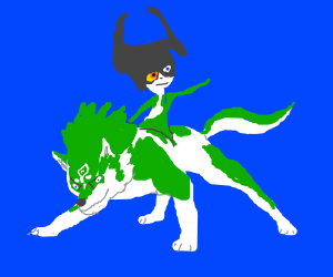 Midna riding wolf-link