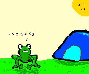 Talking frog thinks that camping sux