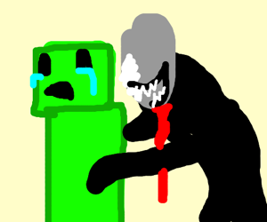 slendman with scary mouth about to eat creeper