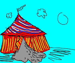 Circus tent is full of gravel