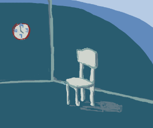 A white chair and a 14-hour clock.