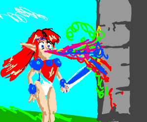 red elf shoots paint out nose at wall