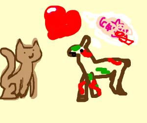 light brown cat loves zombie miniature deer
