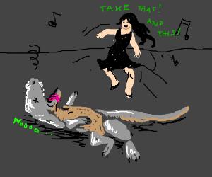 Girl kills dinosaur with her dance moves