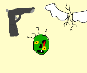 Pi gun, zombie head, and wings with roots