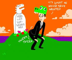 dancing on furry dinosaur's grave