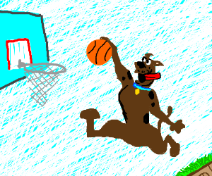 Scooby Doo Plays Basketball In The Sky Drawing By Blitzgirl