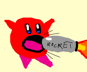 Kirby sucking up megamans bullets