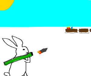 polar rabbit shoots bazooka at Santa's sleighs