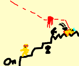 yellowguy in redmask climbs stairs to get Coin