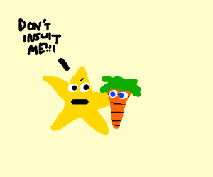 Star_ holding carrot asks not to be insulted