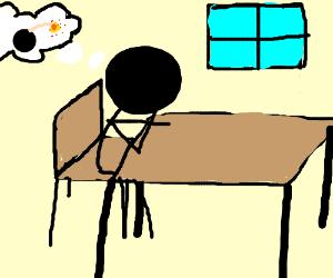 Anarchist stickfigure bored in school