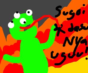 4 eyed Kermit eats Anime characters