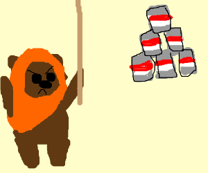 Ewok is angry at floating tin can pyramid
