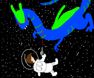 Astronaut fights space dragon with laser gun