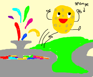 A sponge jumps out of a colourful fountain