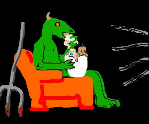 Lizard demon eating some babies