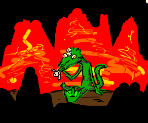 4eyed lizard monster eats man in hell