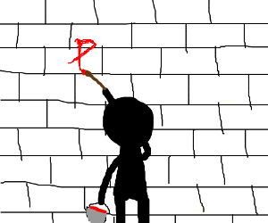 black man painting a wall red