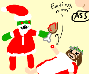 santa zombie eats jesus - Santa Claus And Jesus 2