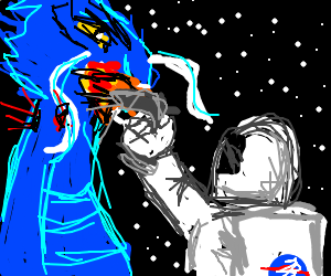 Astronaut Shoots A Blue Space Dragon