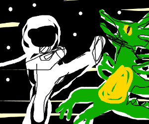 Astronaut fights dragon