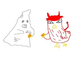 zombie ghost and devil bird are eating pizza