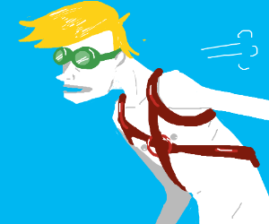 Out-of-breath, shirtless skydiver.