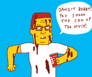 Hank Hill covered in coke