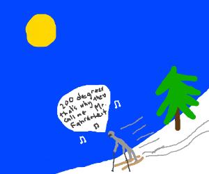 Man skiing while singing