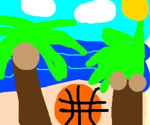 Palm tree plays basketball with a coconut