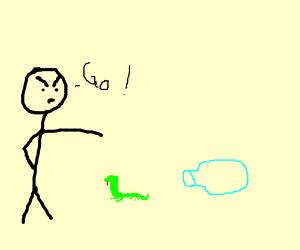 Man telling lizard to go in a bottle