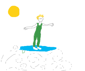 Blonde woman with short hair surfing on air
