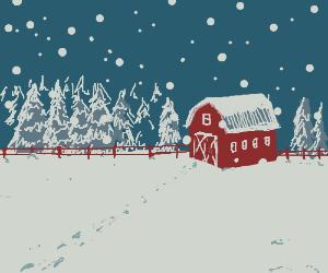 A snow-covered barn