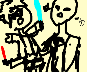 Harry and Voldemort fight with lightsabers