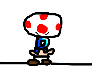 Angry toad with Drawception instead of head