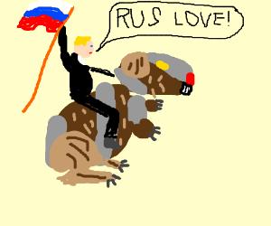 putin rides a guinea pig while scream rus love