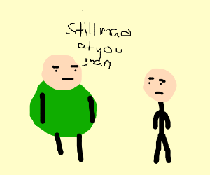 Man w/ green ball for body is mad @ his pal
