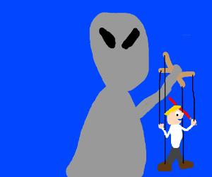 Demure puppet-master alien with a Jedi midget