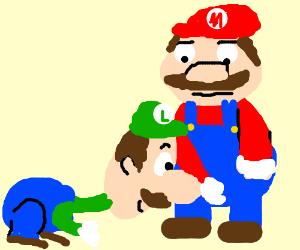 Luigi(with nose) reaches for Marios pecker