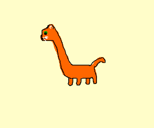 orange cat with huge neck and tiny body